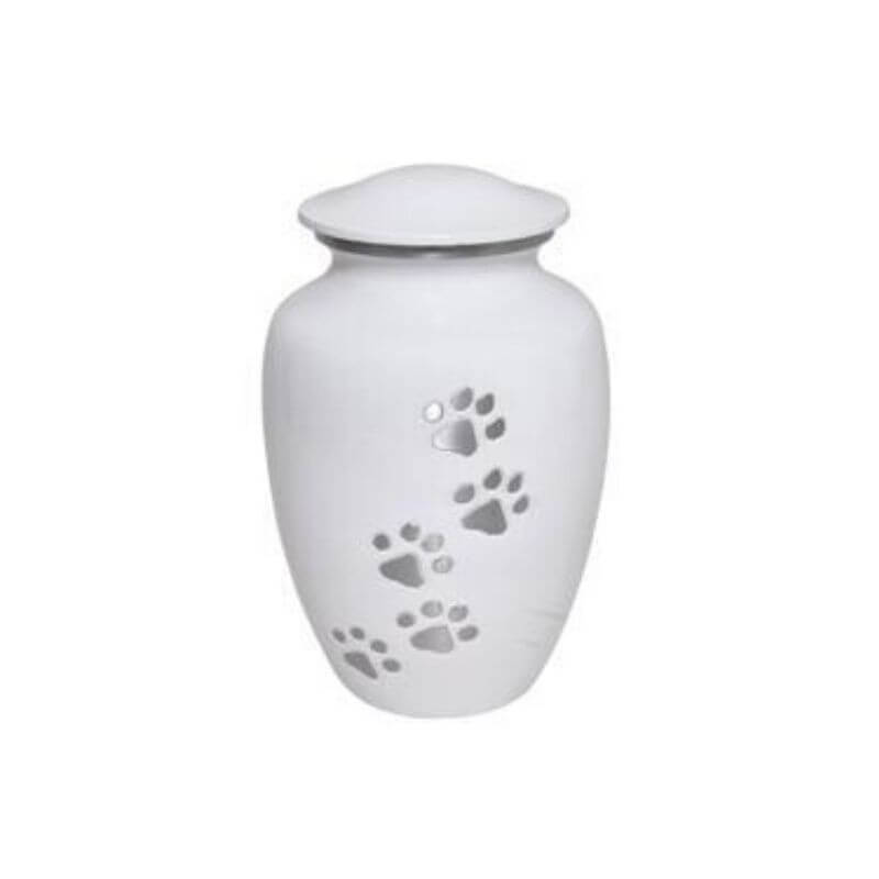 Pet Cremation Urn White Paws To Heaven Design