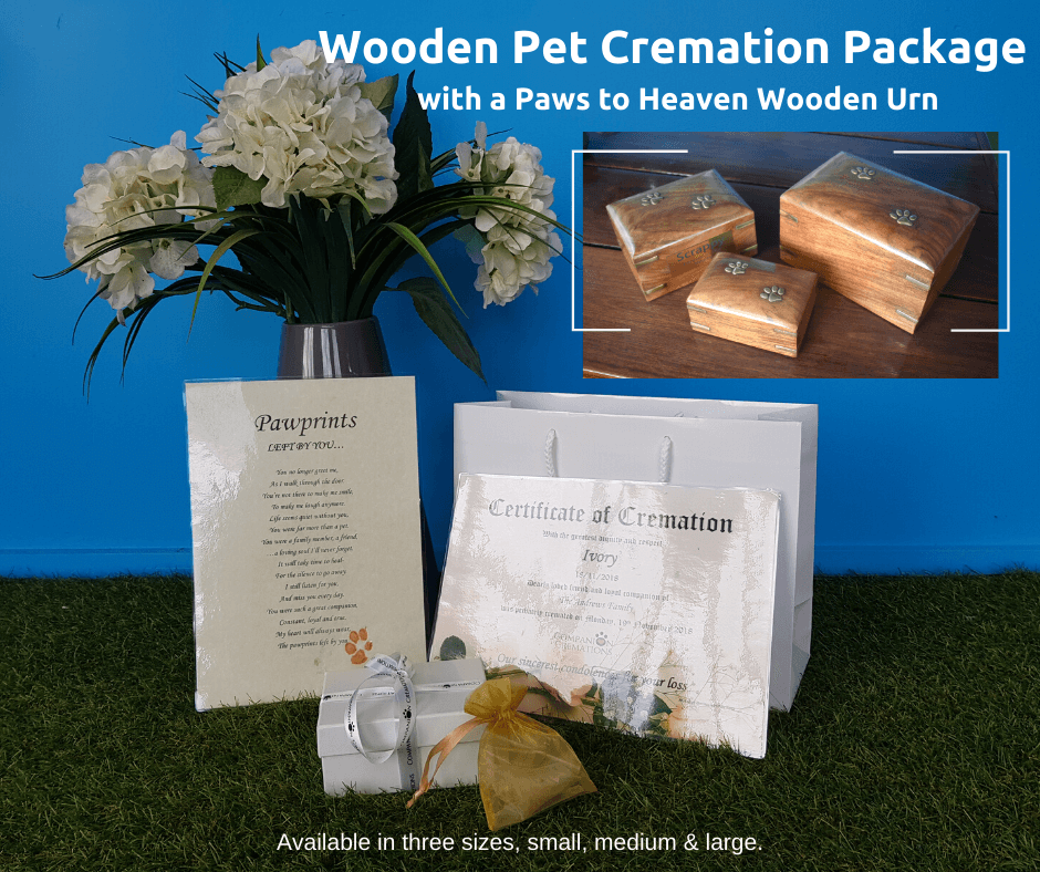 Paws To Heaven Wooden Box Urn Individual Pet Cremation Package