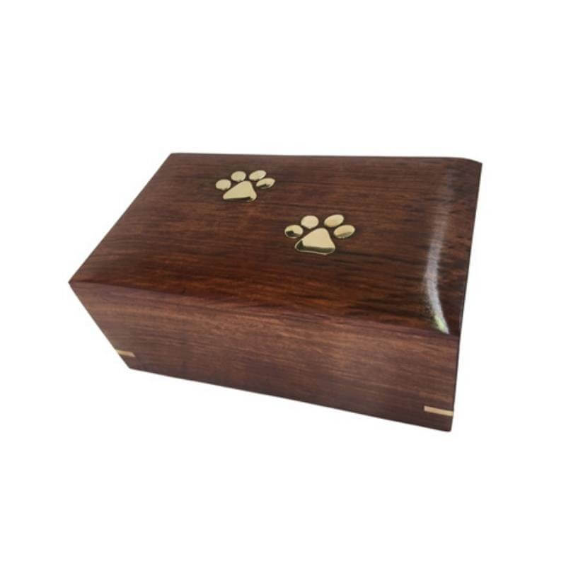 Pet Cremation Wooden Box Urn Paws To Heaven Design